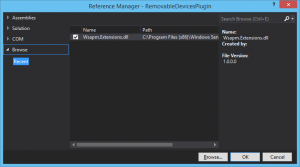 Angabe der Datei Wsaom.Extensions.dll im Reference Manager