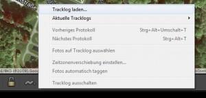 Ein Tracklog wird in Lightroom über die Tracklog-Schaltfläche geladen