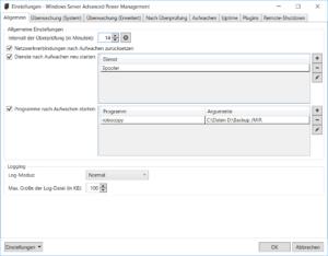 Windows Server Advanced Power Management: Einstellungen - Allgemein