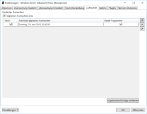 Windows Server Advanced Power Management: Einstellungen - Aufwachen
