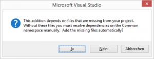 Hinzufügen von fehlenden Dateien