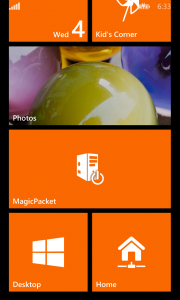 MagicPacket (Windows Phone): Pinned titles to start computer/group