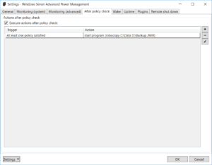 Windows Server Advanced Power Management: Settings - After policy check