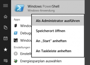 PowerShell als Admin starten (Windows 10)