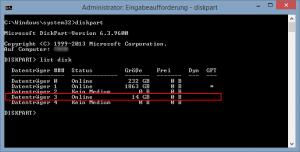 Ermitteln des Datenträgers mit DiskPart