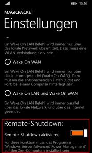 MagicPacket: Remote-Shutdown in den App-Einstellungen