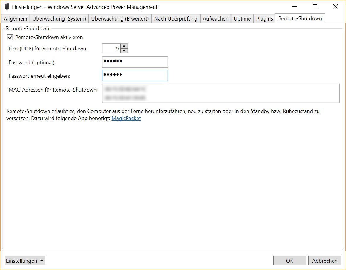 Windows Server Advanced Power Management Decatec Remote Manager Einstellungen Shutdown