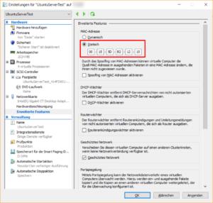 EinstellungenVM - Statische MAC-Adresse zuweisen