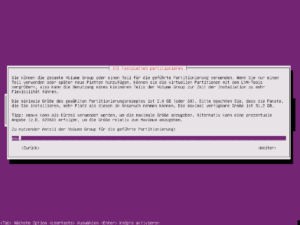 Ubuntu Setup - Partitionsgröße festlegen