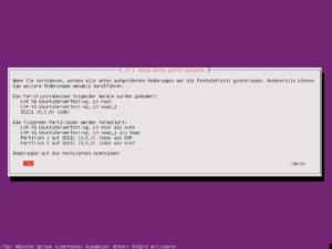Ubuntu Setup - Zusammenfassung der Partitionierung