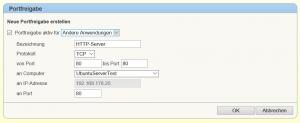 FritzBox: Portfreigabe für HTTP Port 80