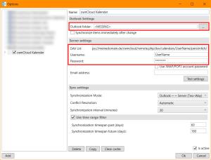 CalDav Synchronizer: Synchronisierungs-Profil anlegen