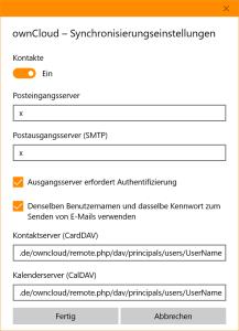 CardDAV/CalDAV URLs in den erweiterten Kontoeinstellungen