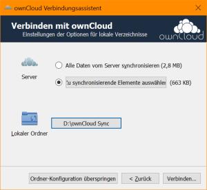 Konfiguration der Synchronisierung im ownCloud Client