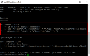 Test des Fail2ban-Regex gegen die ownCloud-Log-Datei
