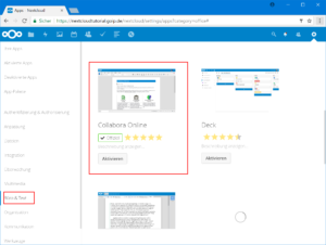 Collabora Online App im Nextcloud App Store