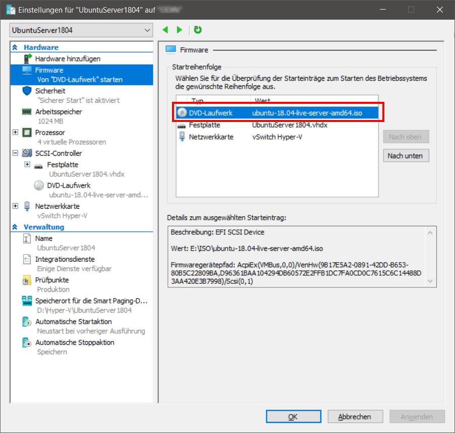 Ubuntu Server 18 04 LTS als Hyper-V Gastsystem installieren