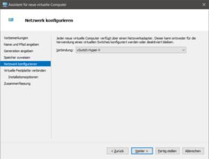 Netzwerkkonfiguration der VM