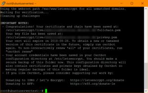 Das SSL-Zertifikat wurde erfolgreich erzeugt