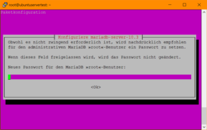 MariaDB: Angabe des Root-Passworts während des Setups