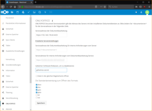 ONLYOFFICE Einstellungen in Nextcloud
