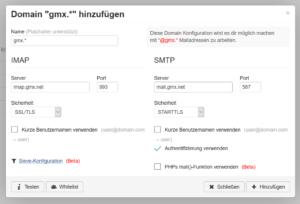 RainLoop: Domain für GMX hinzufügen