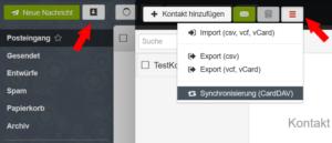 RainLoop: Kontakte synchronisieren