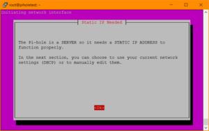 Pi-hole Setup: Hinweis auf statische IP-Adresse