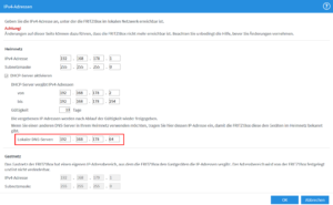 DHCP-Einstellungen der FritzBox (IPv4)