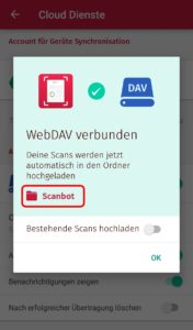 Scanbot: Upload-Optionen