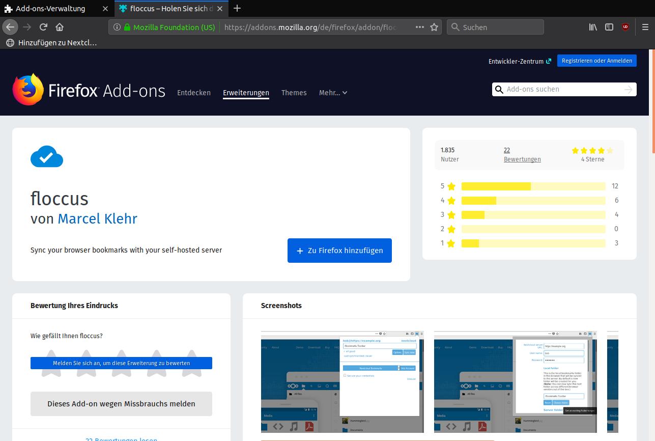 Nextcloud: Lesezeichen synchronisieren mit Chrome/Firefox