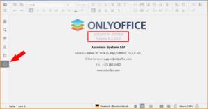 Über die Info-Schaltfläche kann die installierte Version ermittelt werden