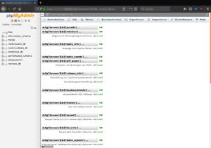 phpMyAdmin: Die Verwaltungs-Datenbank wurde erfolgreich angelegt