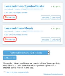 floccus: Synchronisierung einschalten