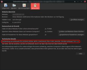 Firefox nutzt nun automatisch das ECDSA-Zertifikat