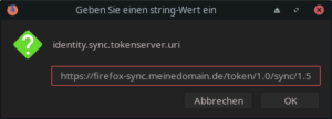 Über about:config wird der eigene Sync-Server angegeben