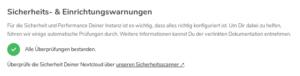 In der Nextcloud Admin-Oberfläche sollten keine Warnungen angezeigt werden