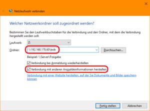 Windows: Verbindung mit Netzlaufwerk herstellen