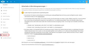 Warnungen im Admin-Bereich nach dem Nextcloud Setup