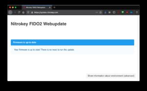 Nitrokey FIDO2: Firmware-Update im Browser